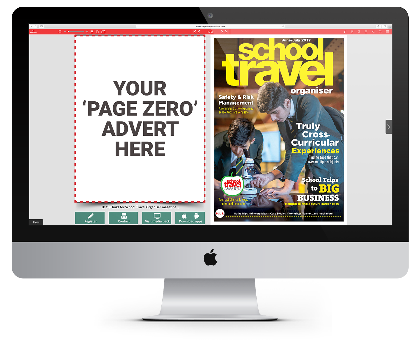 School Travel Organiser e-magazine on-screen
