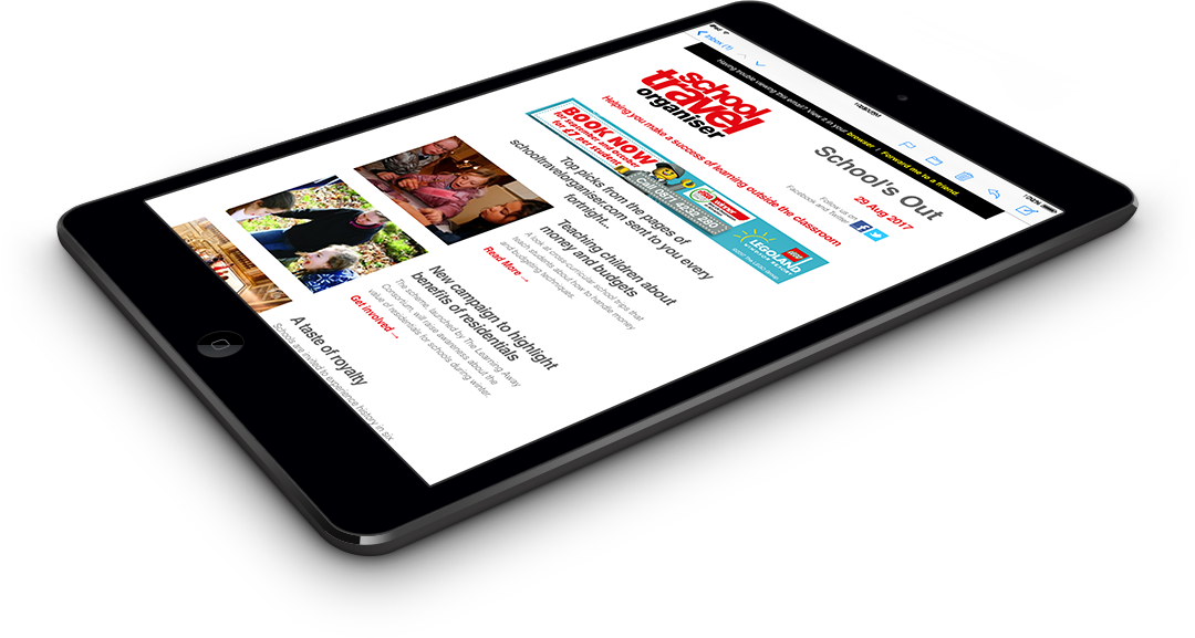 Group Leisure e-newsletter on iPad Mini